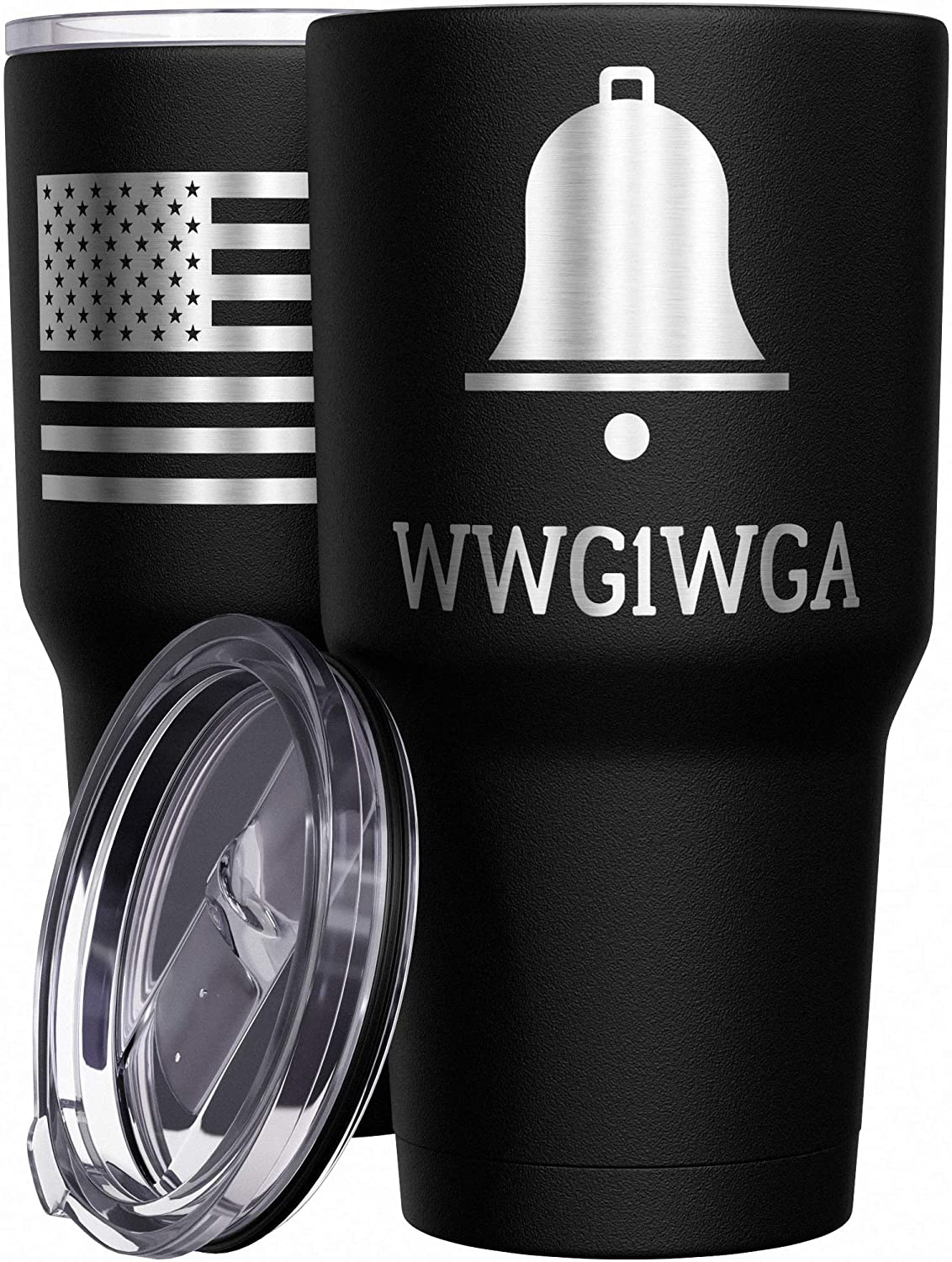 We The People Holsters - WWG1WGA - QAnon Tumbler - American Flag Coffee Travel Mug - Republican Tumbler - Double Insulated Tumbler - 30 oz